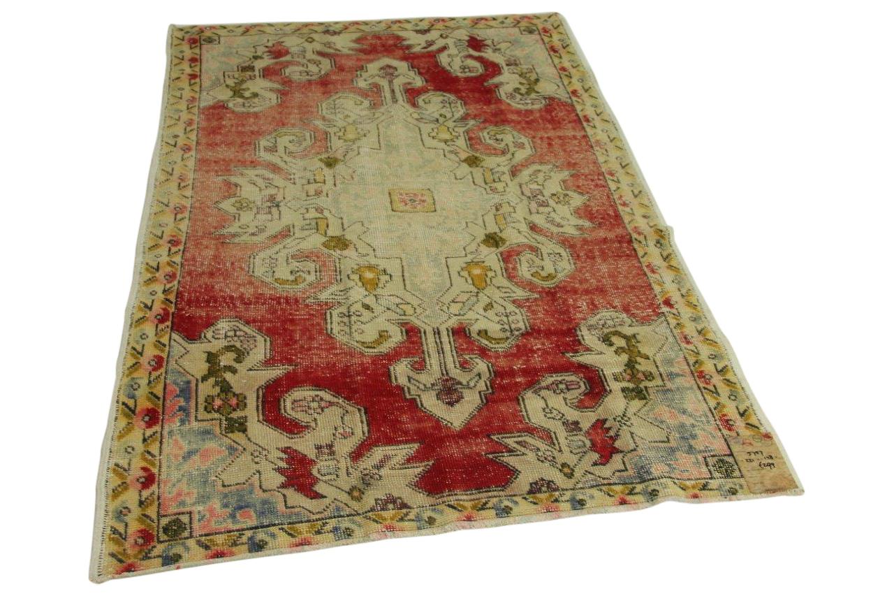 Vintage vloerkleed rood 221cm x 128cm nr5757