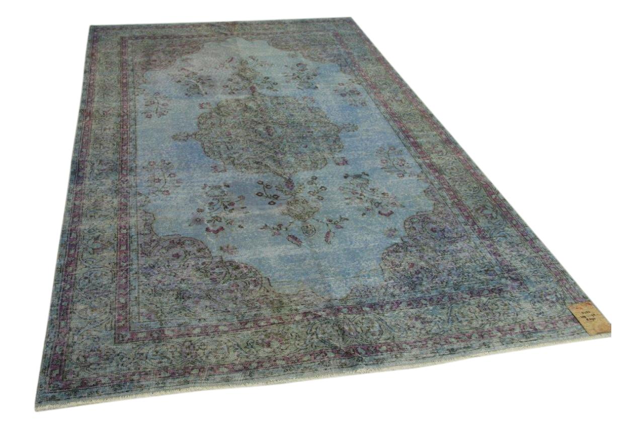 Vintage vloerkleed blauw 309cm x 198cm nr5432