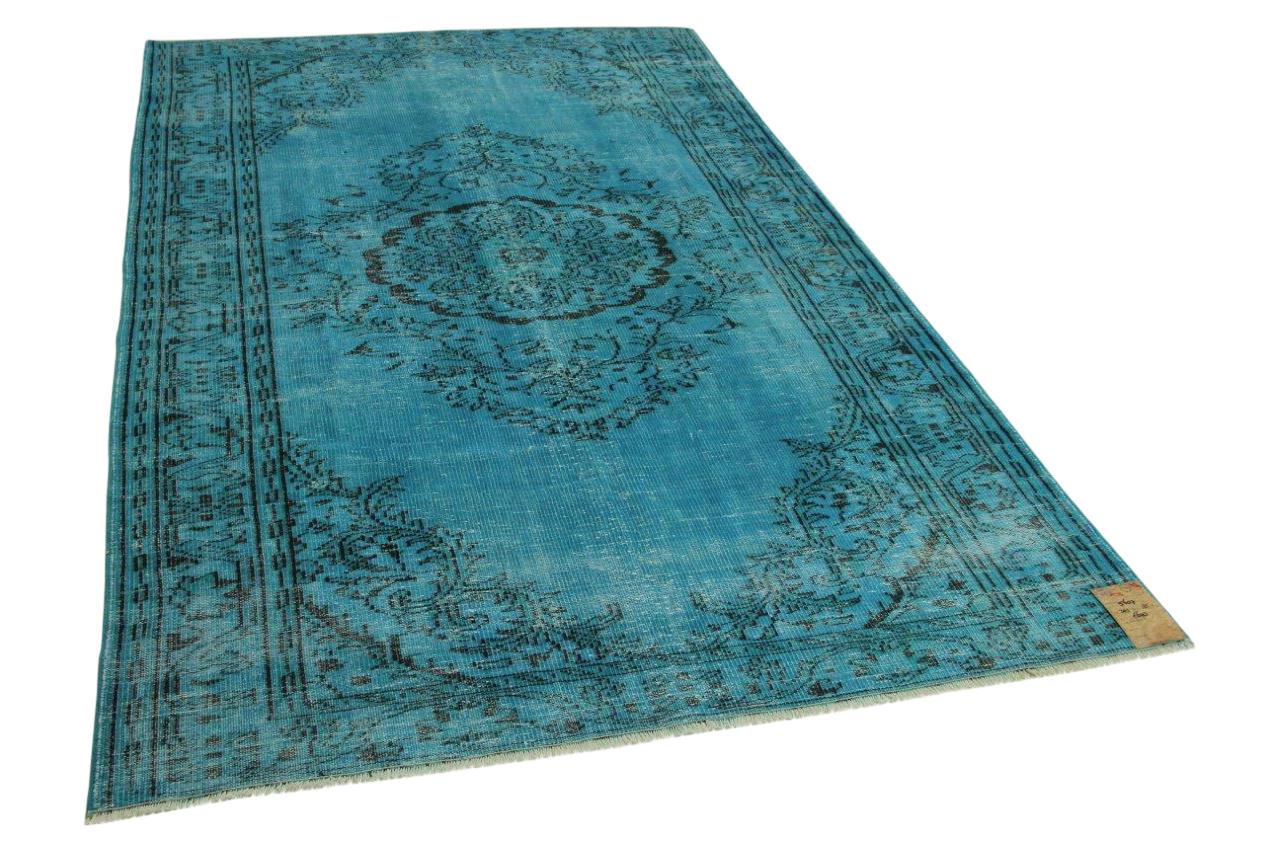 Vintage vloerkleed blauw 301cm x 185cm nr5607