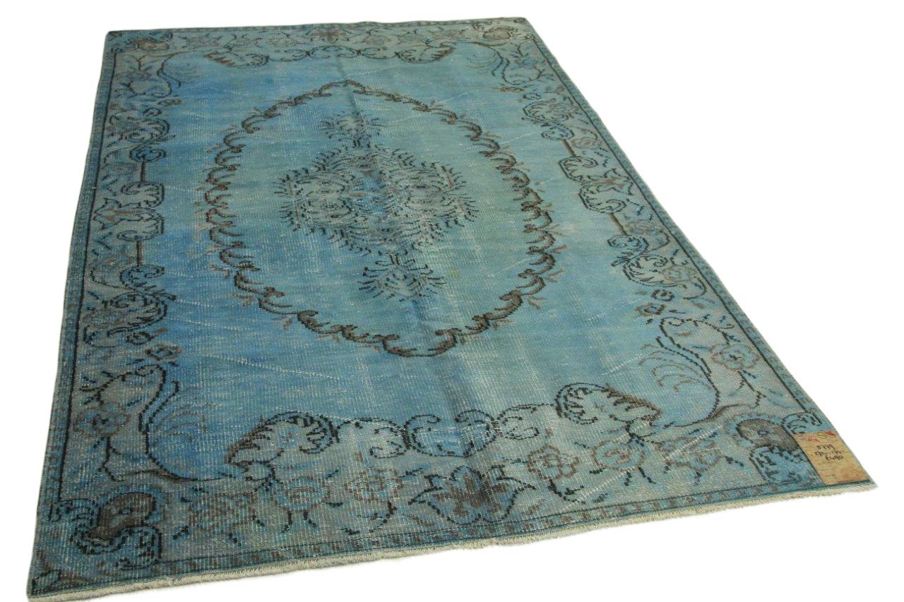 Vintage vloerkleed blauw 272cm x 174cm 5779