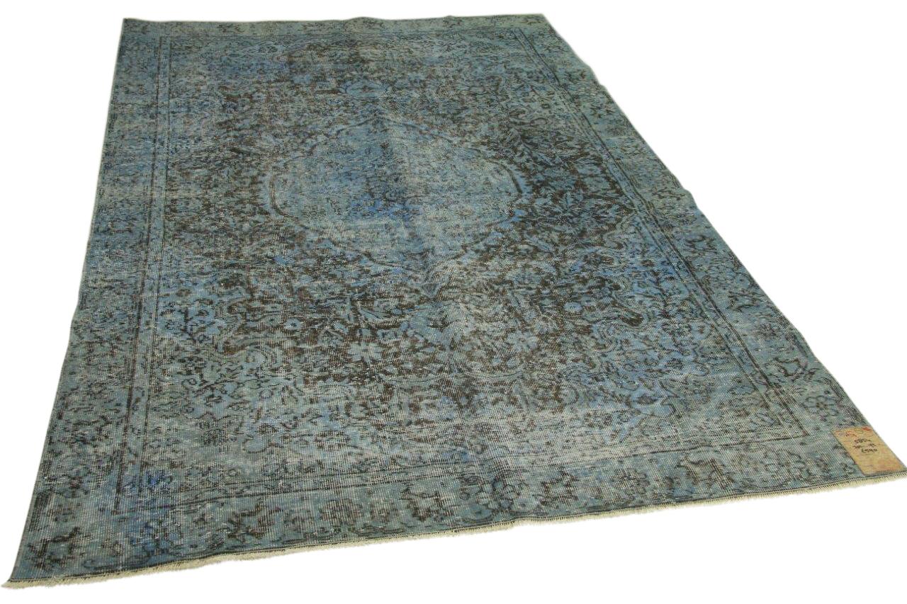 Vintage vloerkleed blauw 302cm x 192cm nr5854