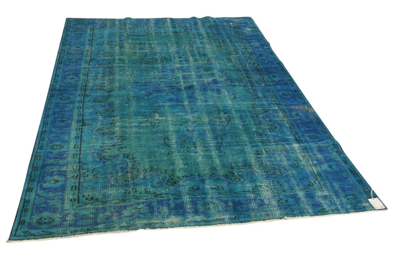 vintage vloerkleed, blauw, 262cm x 190cm