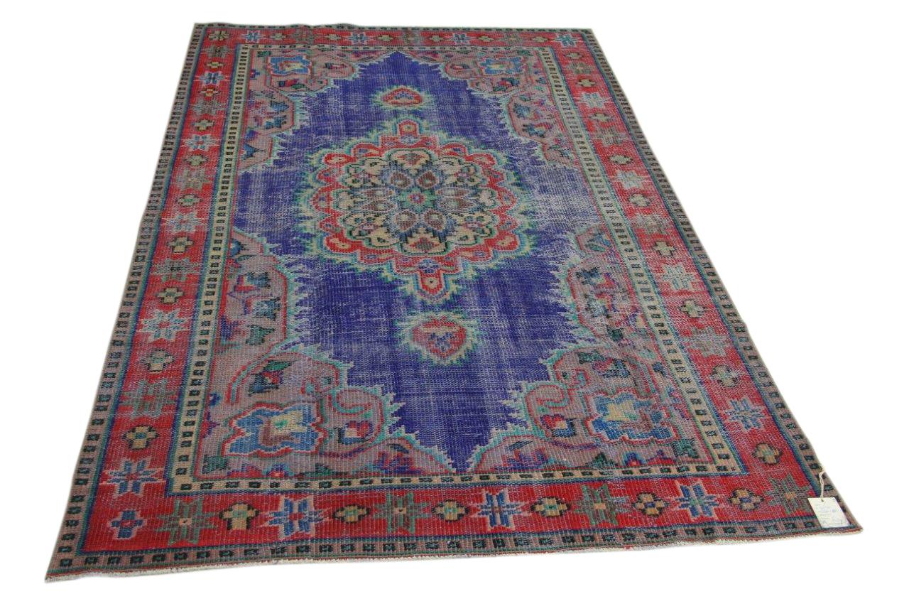 Vintage vloerkleed, blauw, rood, 248cm x 155cm nr89230