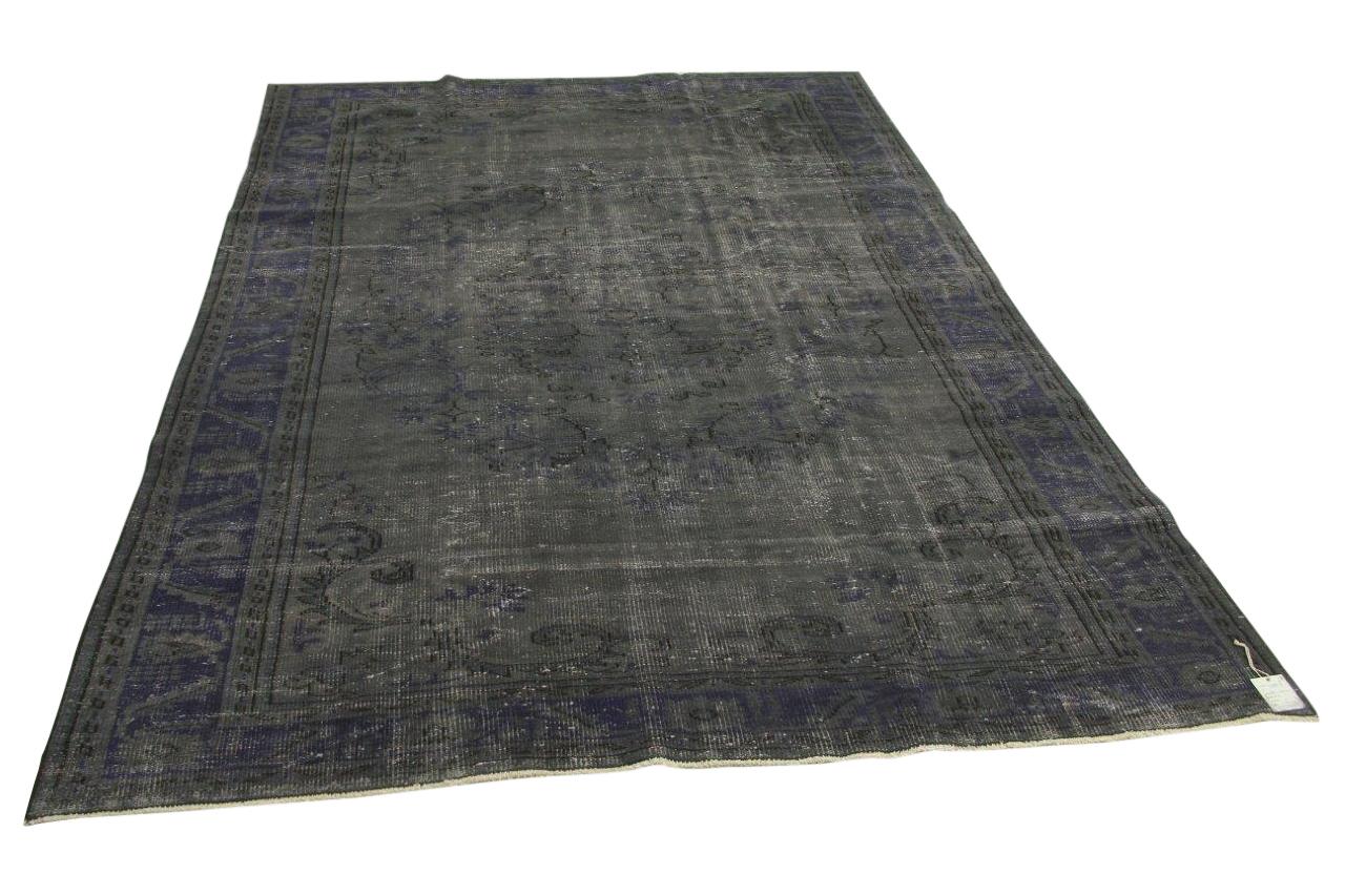Vintage vloerkleed, grijs, blauw, 288cm x 200cm nr7955