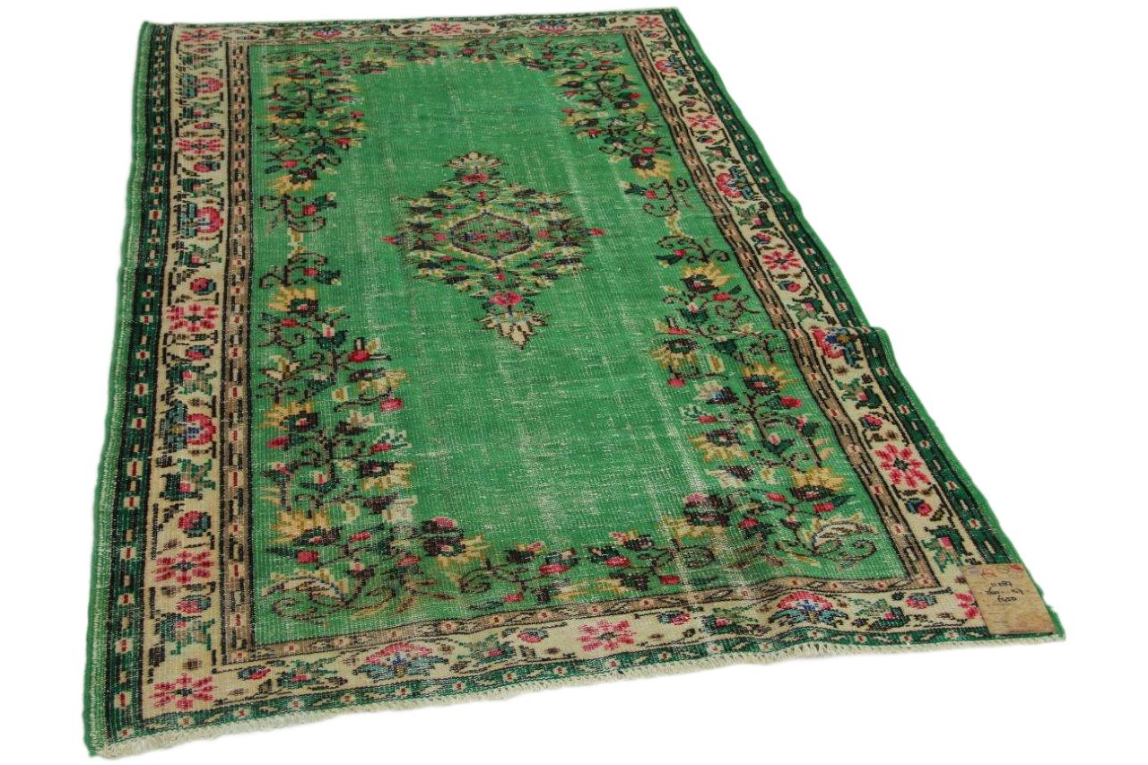 Vintage vloerkleed groen 260cm x 147cm nr11287