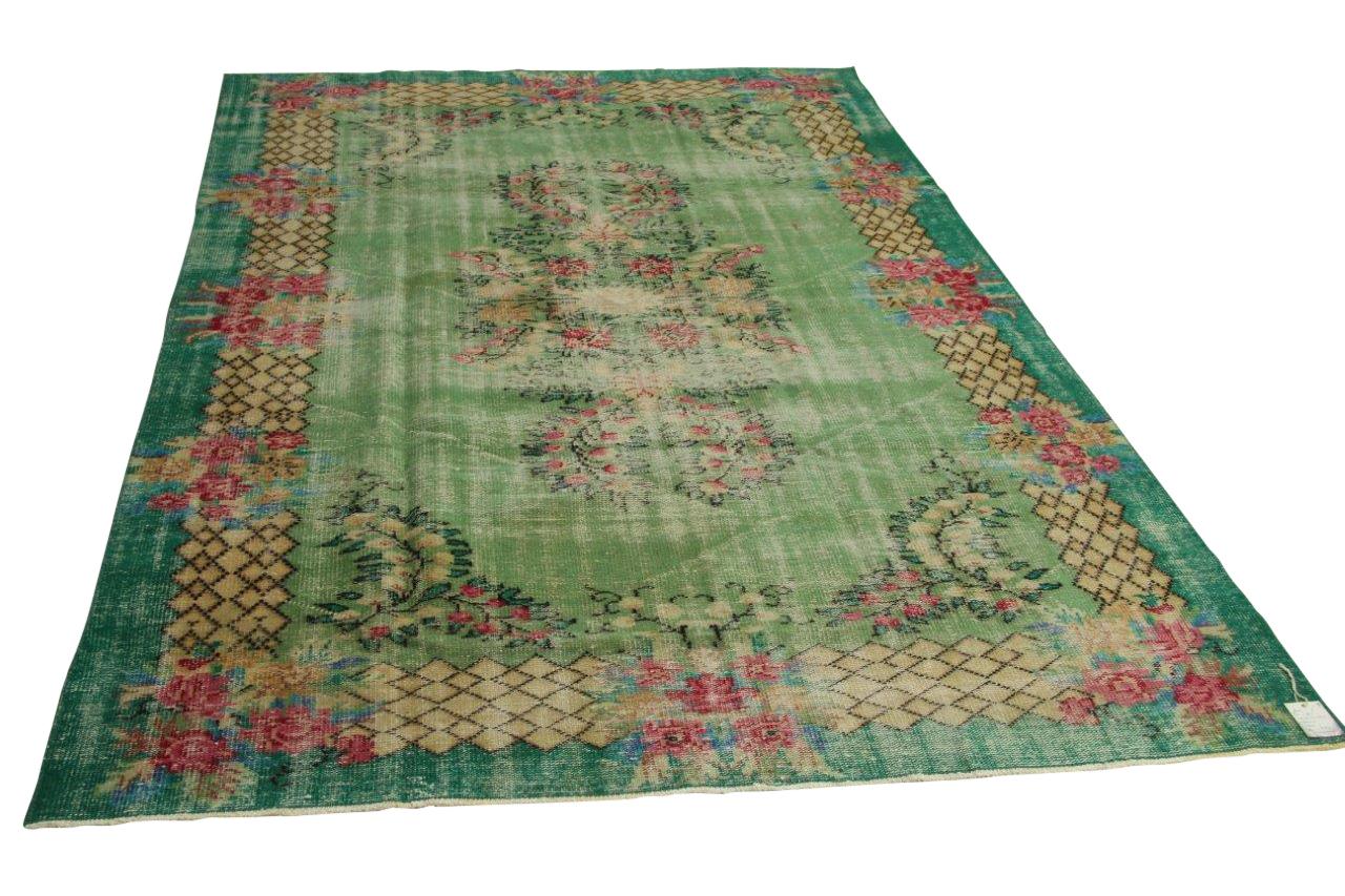 Vintage vloerkleed, groen, 300cm x 202cm nr11895