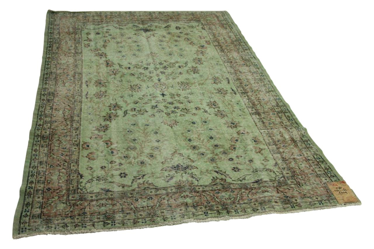 Vintage vloerkleed groen 243cm x 162cm nr5781