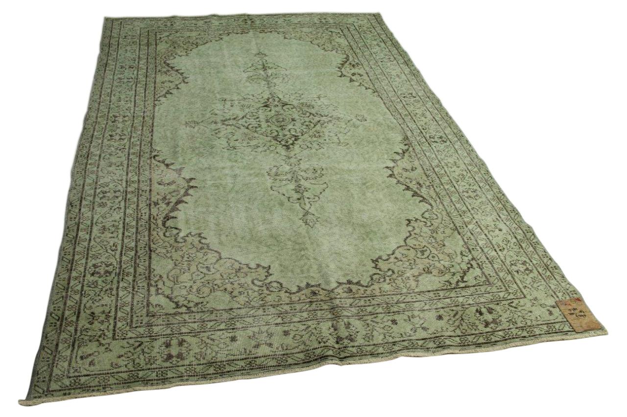 Vintage vloerkleed groen 300cm x 187cm nr5782