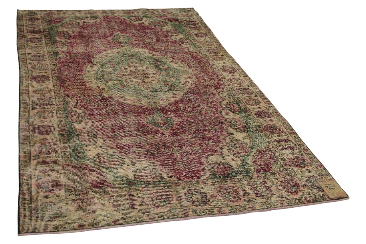 Vintage vloerkleed rood met groen 278cm x 163cm nr11259