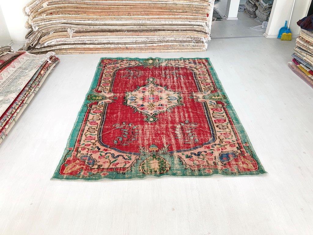 Vintage vloerkleed rood 266cm x 187cm nr5751