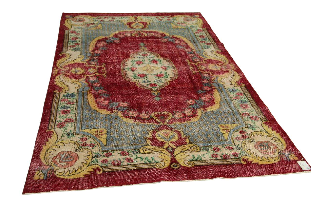 vintage vloerkleed, rood, 286cm x 183cm