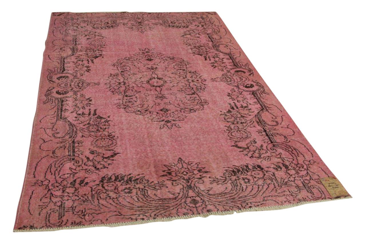 Vintage vloerkleed roze 262cm x 170cm nr31354