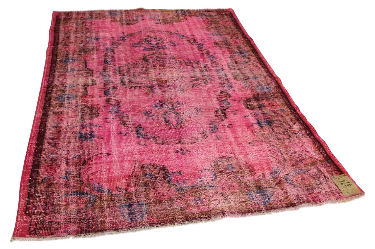 Vintage vloerkleed roze 255cm x 180cm nr5482