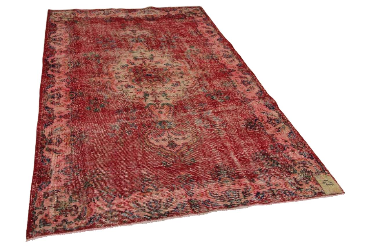 Vintage vloerkleed roze rood 287cm x 170cm nr11289