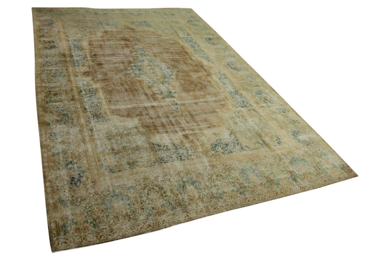 Vintage vloerkleed zandkleur met blauw, groen 440cm x 298cm nr56953