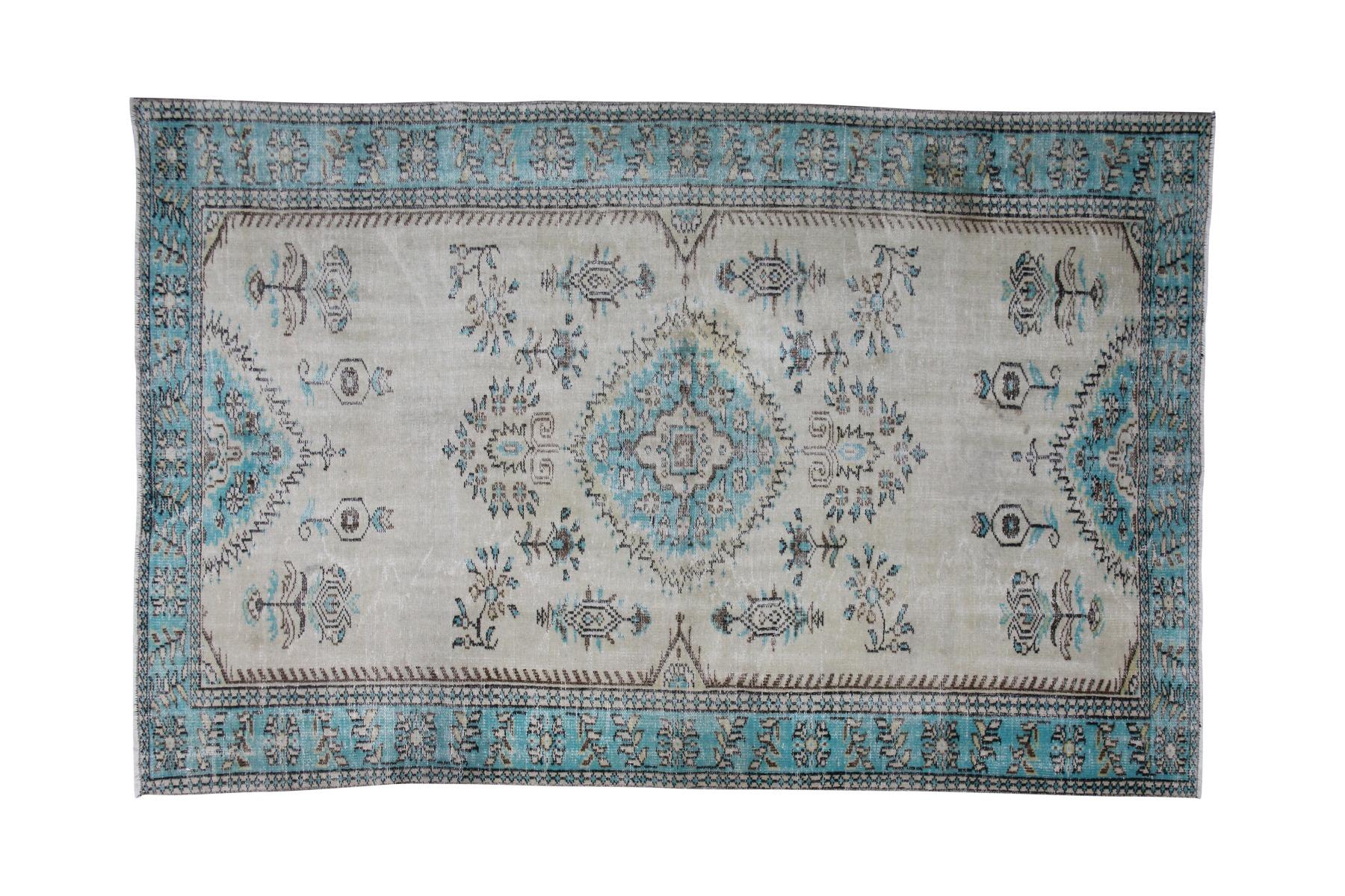Vintage vloerkleed beige met blauw, 282cm x 187cm, nr 18705