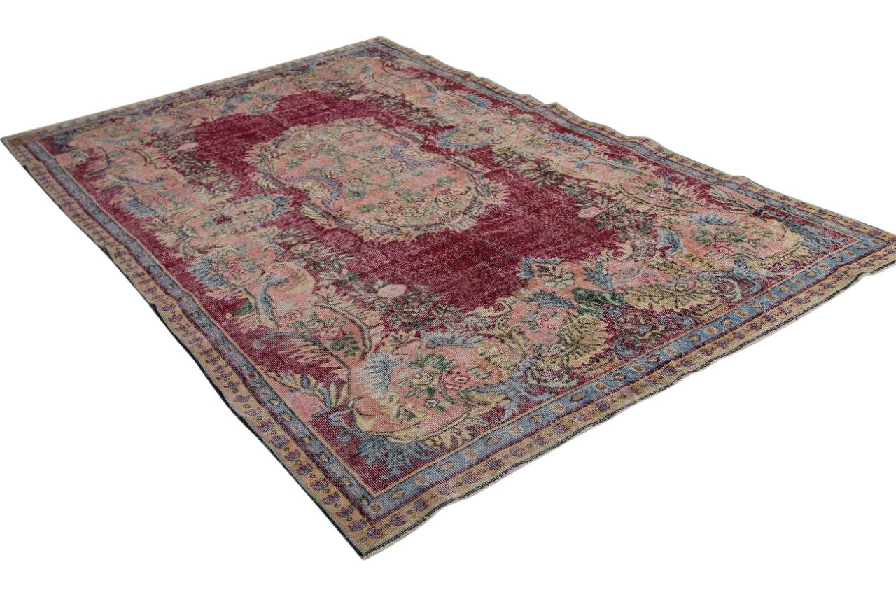 Vintage vloerkleed rood met blauw 313cm x 204cm