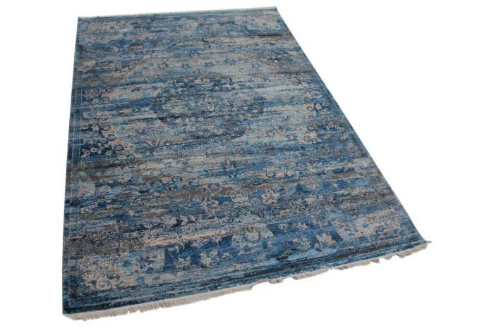 Vintage look vloerkleed blauw