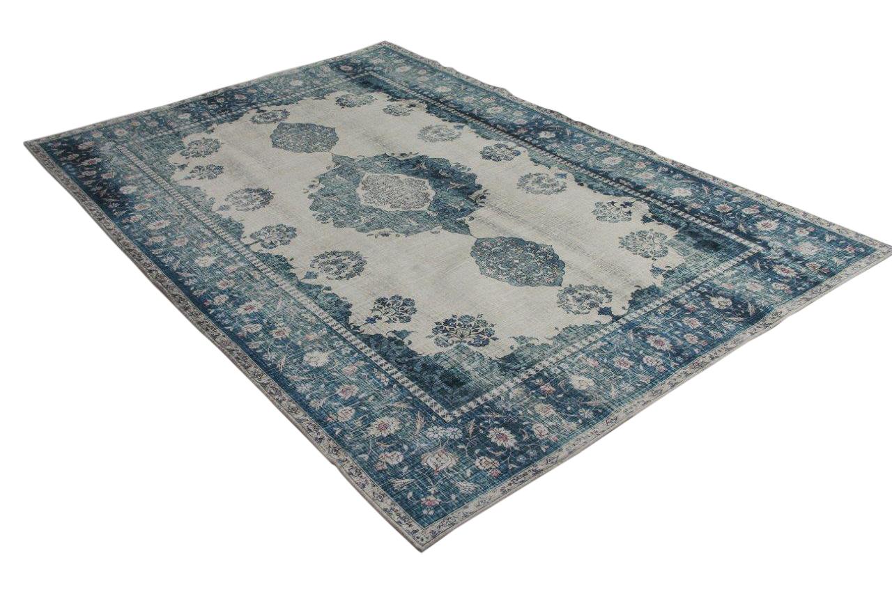 Vintage look vloerkleed blauw met gebroken wit 225cm x for Ka che vintage look