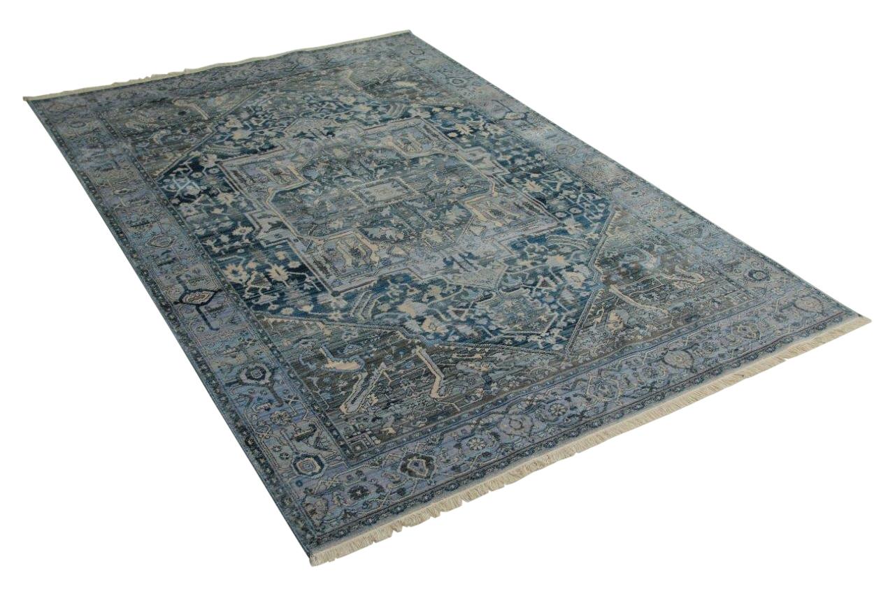 Vintage look vloerkleed blauw (290cm x 200cm)