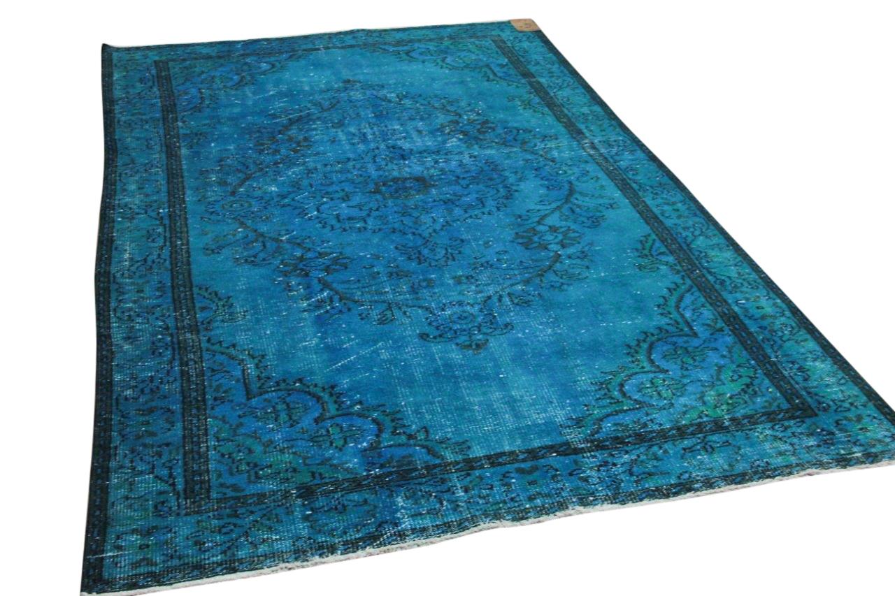 Vintage vloerkleed turquoise