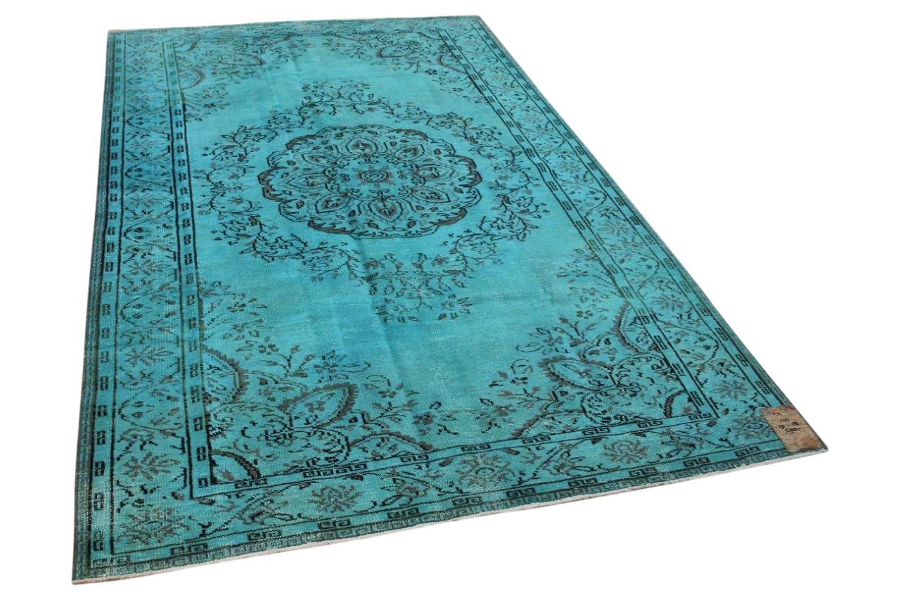 Aqua blauw vloerkleed 1102