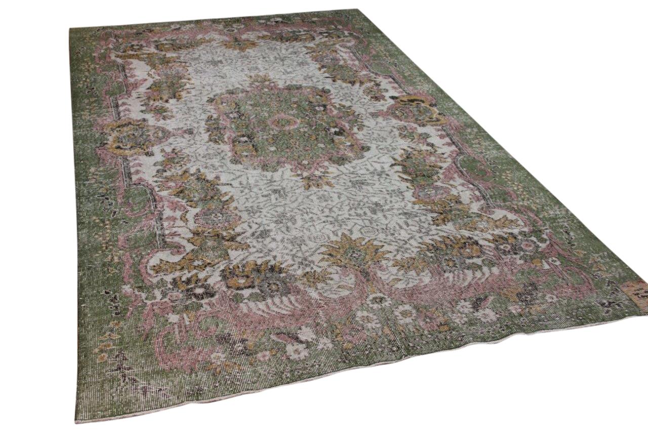 Vintage vloerkleed groen, roze 11032 308cm x 185cm