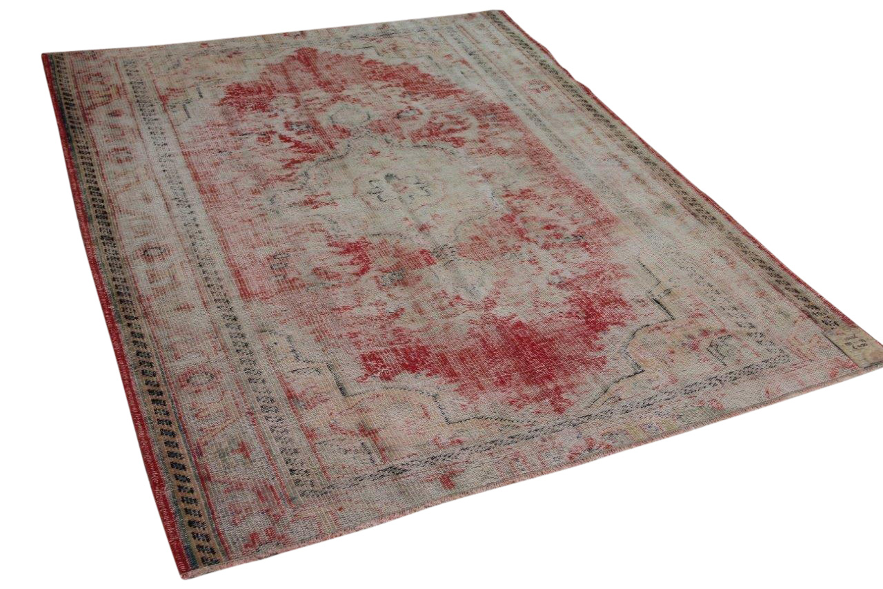Vintage vloerkleed rood met diverse kleuren 255cm x 177cm