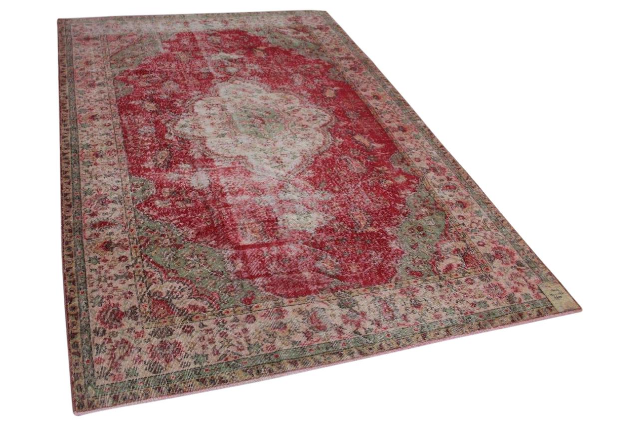 Vintage vloerkleed rood met groen 292cm x 196cm