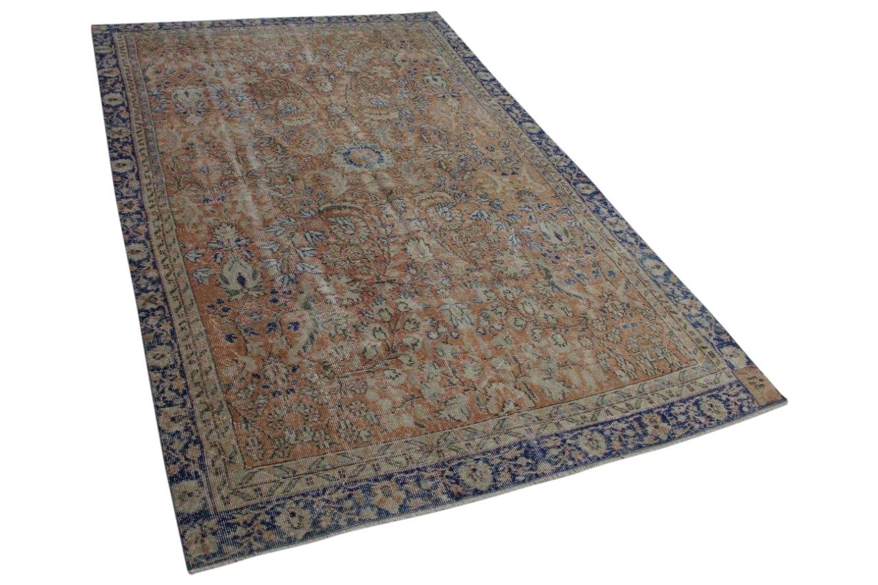 Bruin met blauw vintage vloerkleed 277cm x 183cm