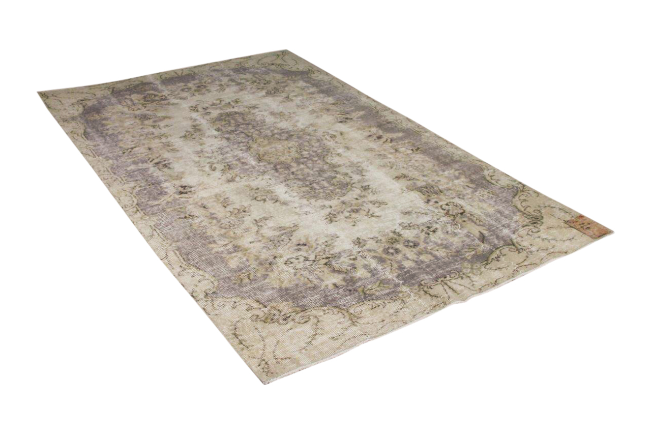 Vintage vloerkleed zandkleur met paars 15916 262cm x 158cm