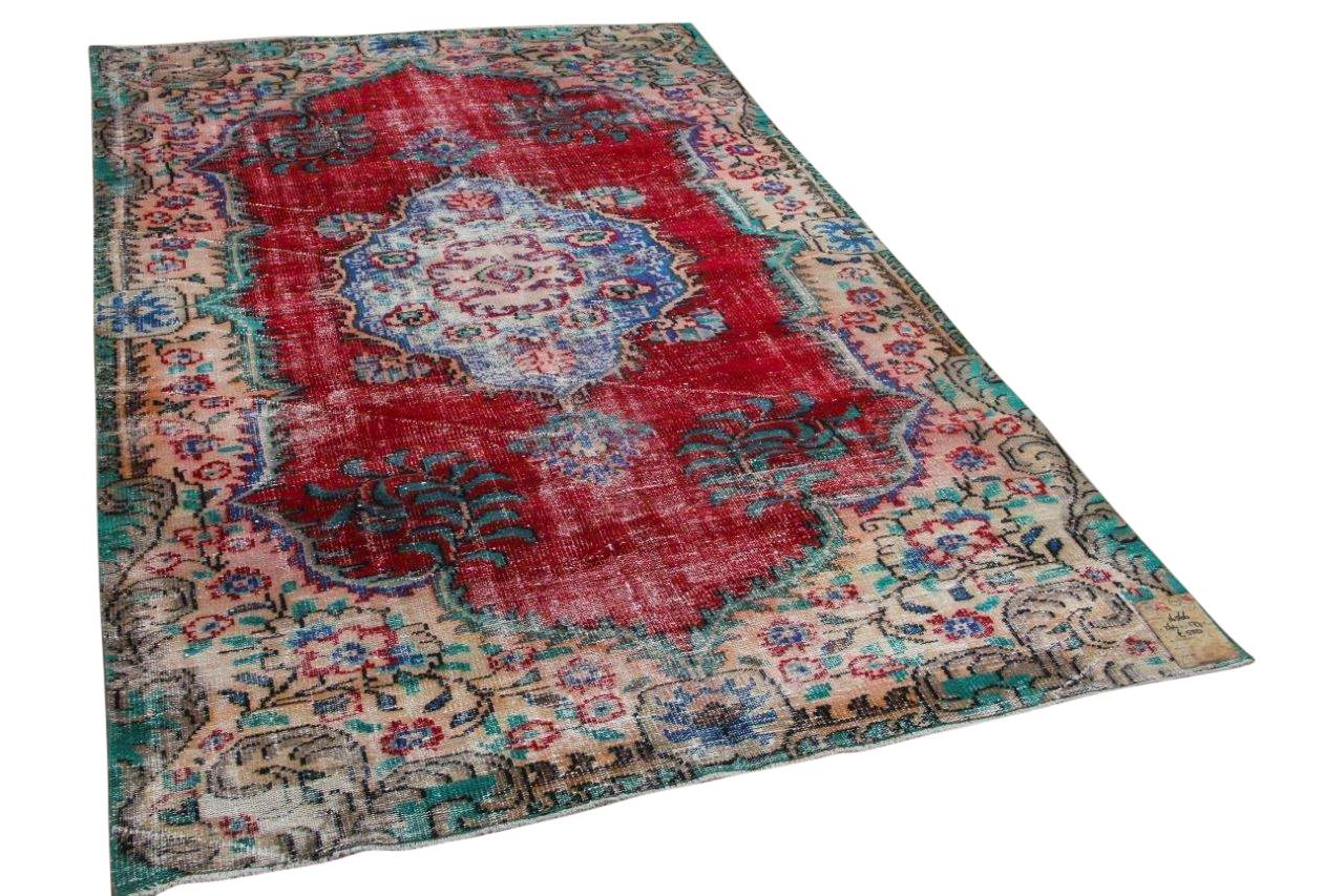 Vintage vloerkleed rood, groen 16566 264cm x 177cm