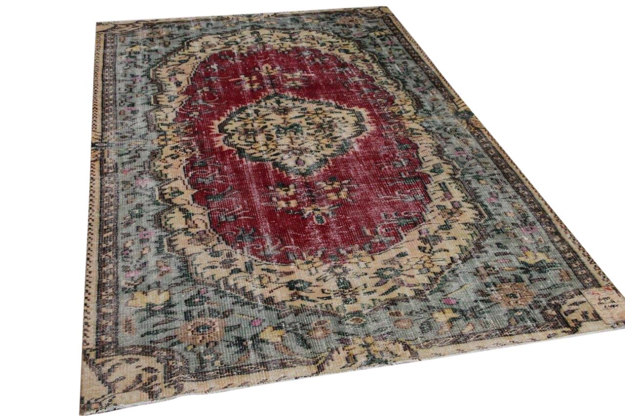 Vintage vloerkleed rood met blauw 16835 264cm x 164cm
