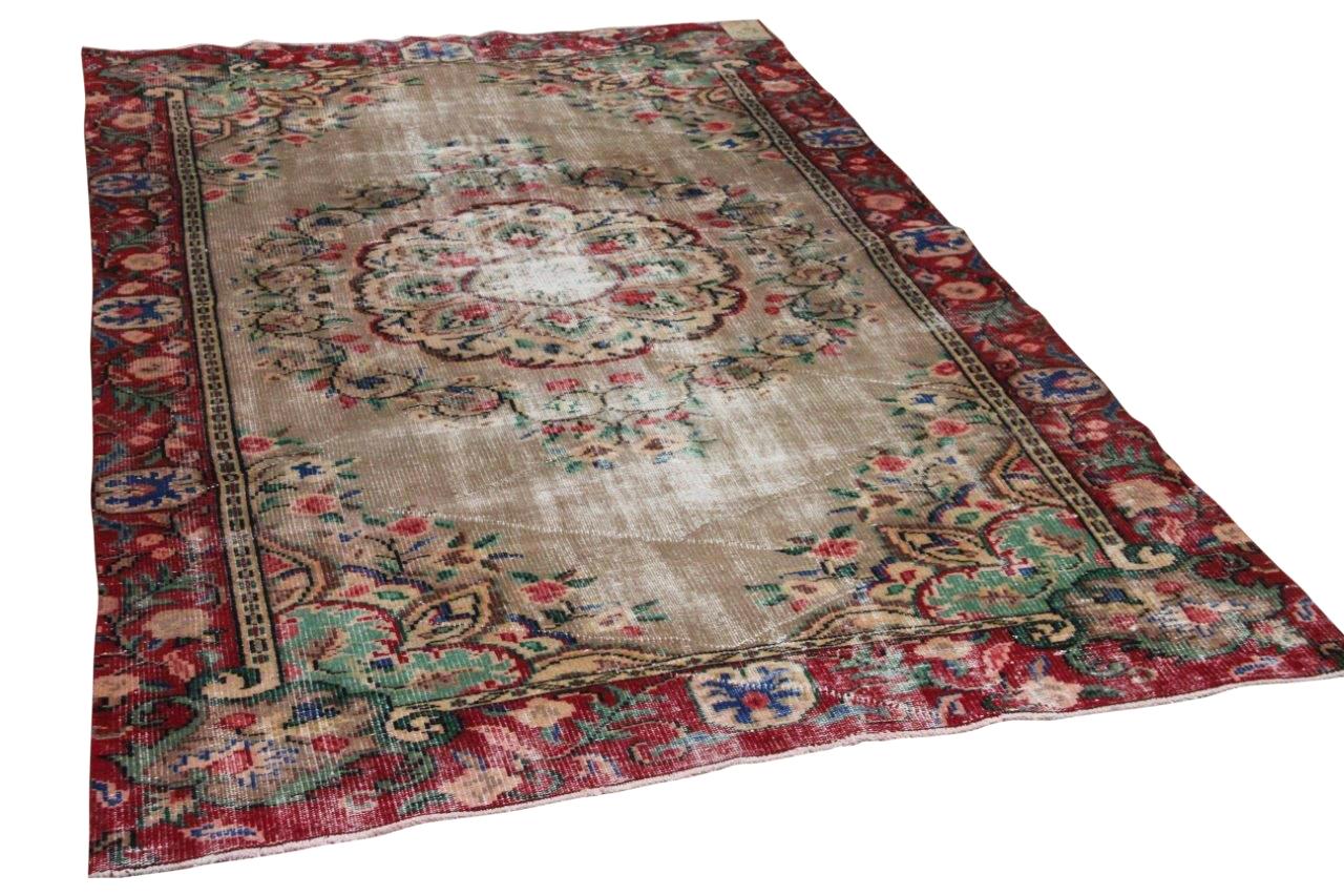 Vintage vloerkleed rood 17226 266cm x 169cm