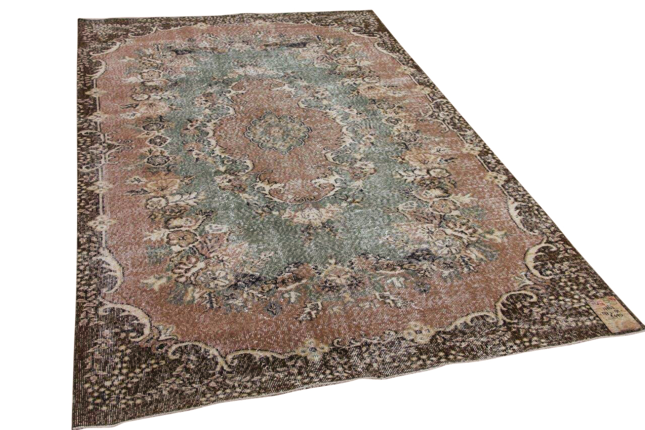 Vintage vloerkleed bruin, roze, groen 17863 277cm x 172cm