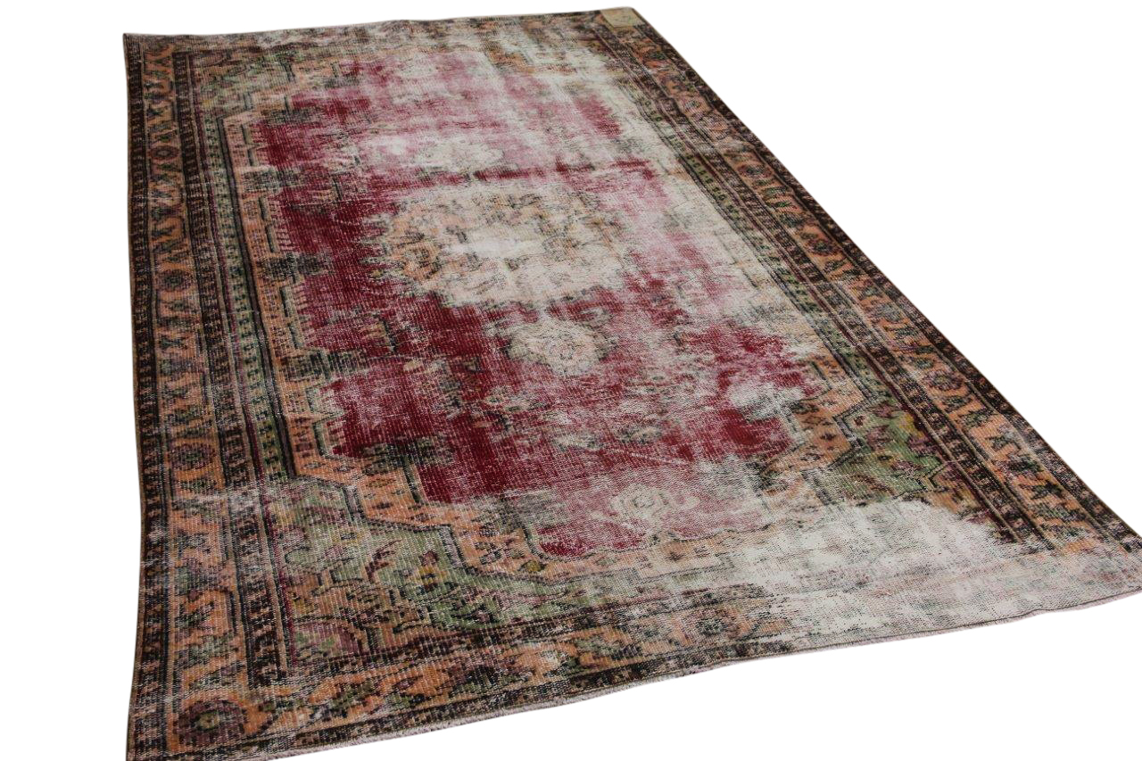 Vintage vloerkleed rood nr:18070 282cm x 159cm