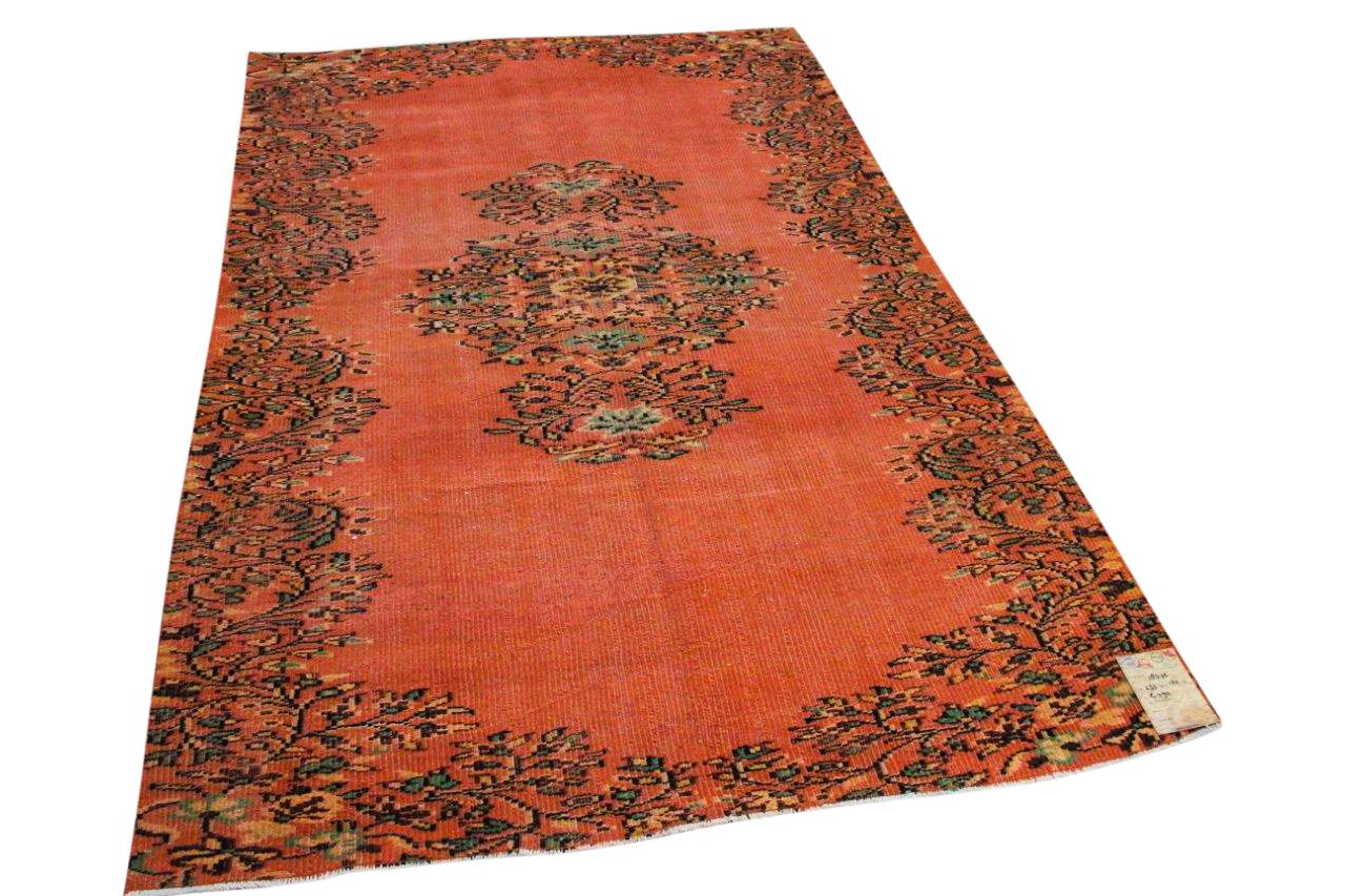 Vintage vloerkleed oranje nr:18576 253cm x 162cm