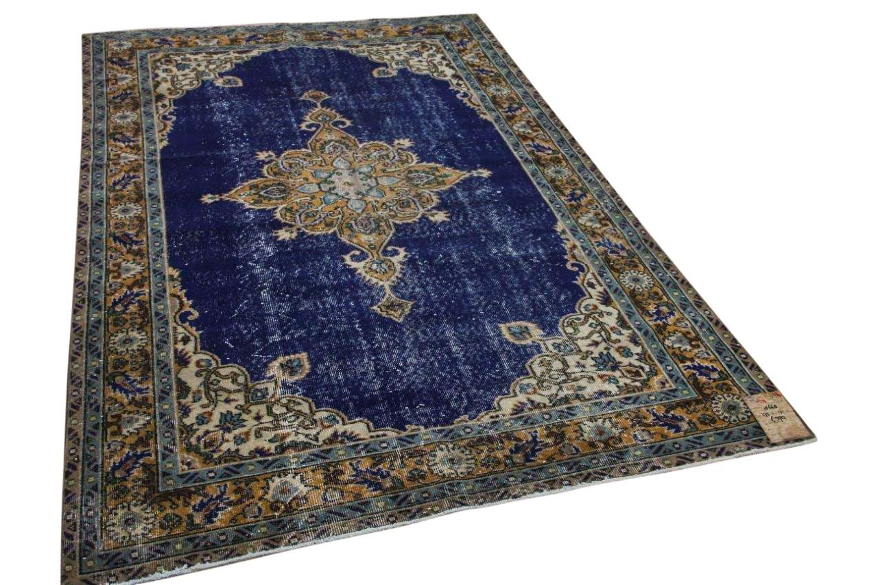 Vintage vloerkleed met blauw 18668 275cm x 171cm