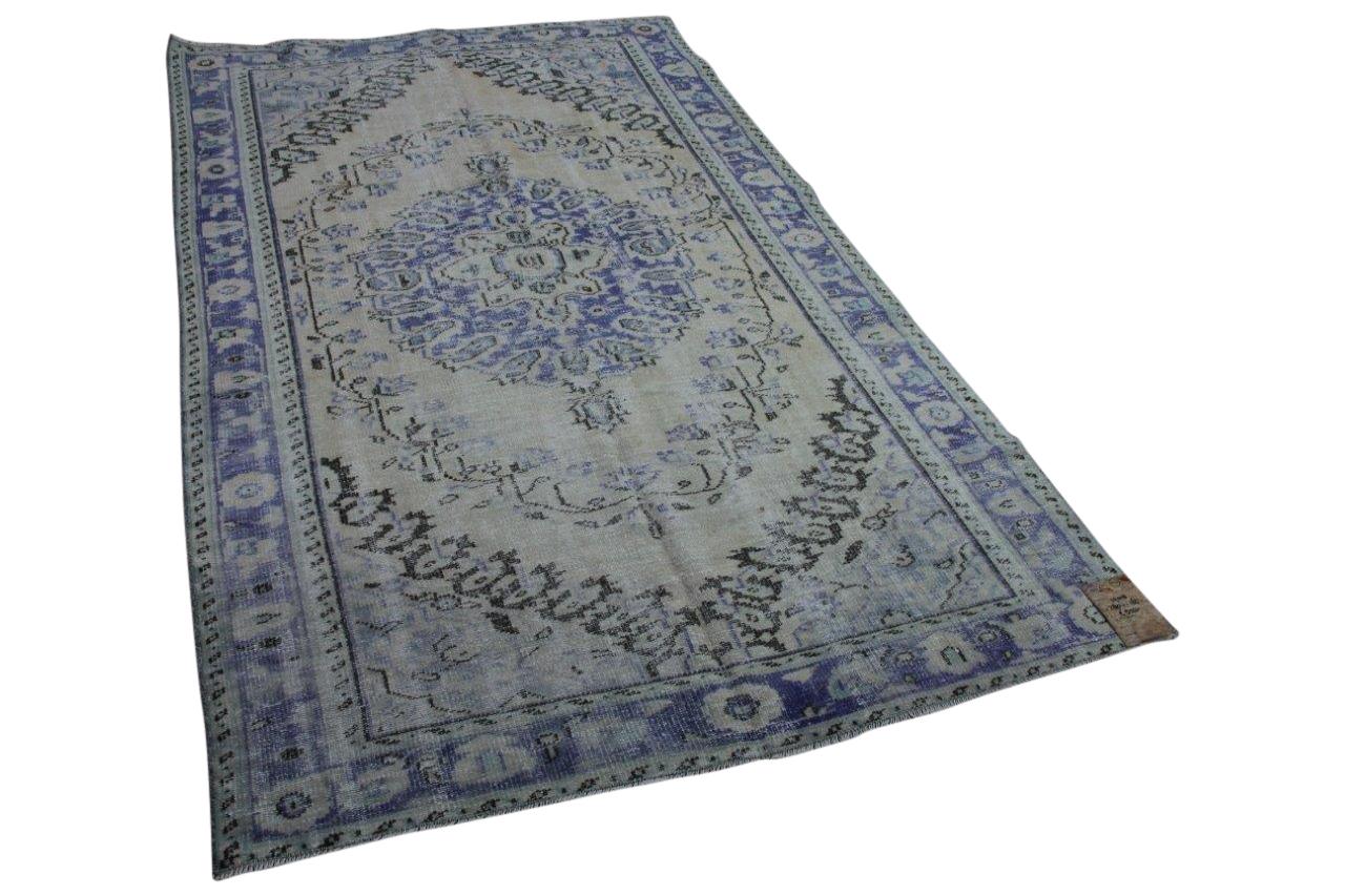 Vintage vloerkleed blauw, 265cm x 168cm, nr13701