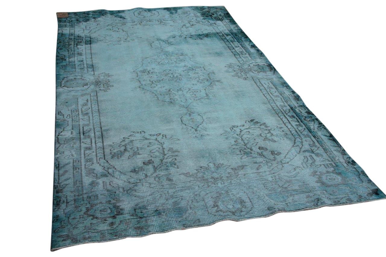 Vintage vloerkleed turquoise nr:22689 300cm x 172cm