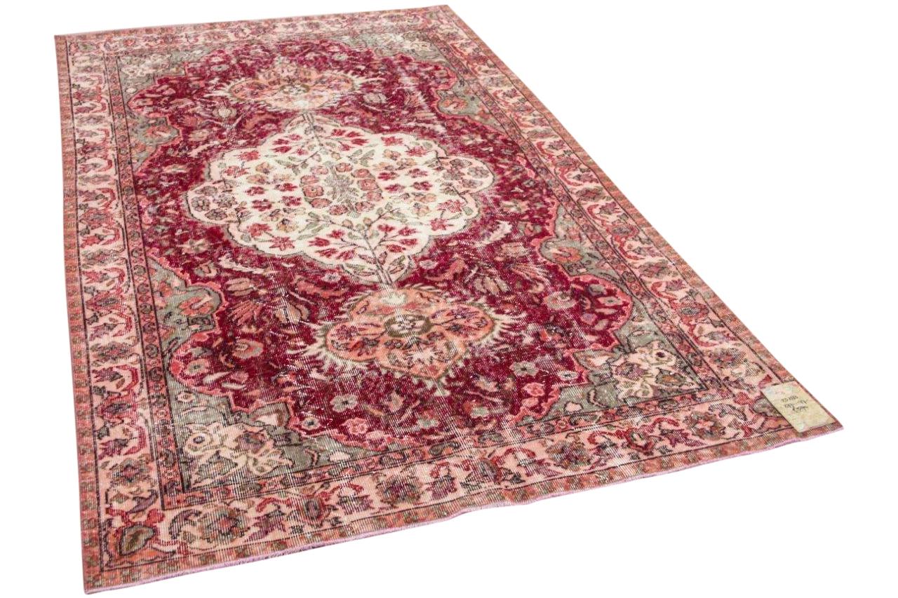 vintage vloerkleed met  rood 23283 277cm x 177cm