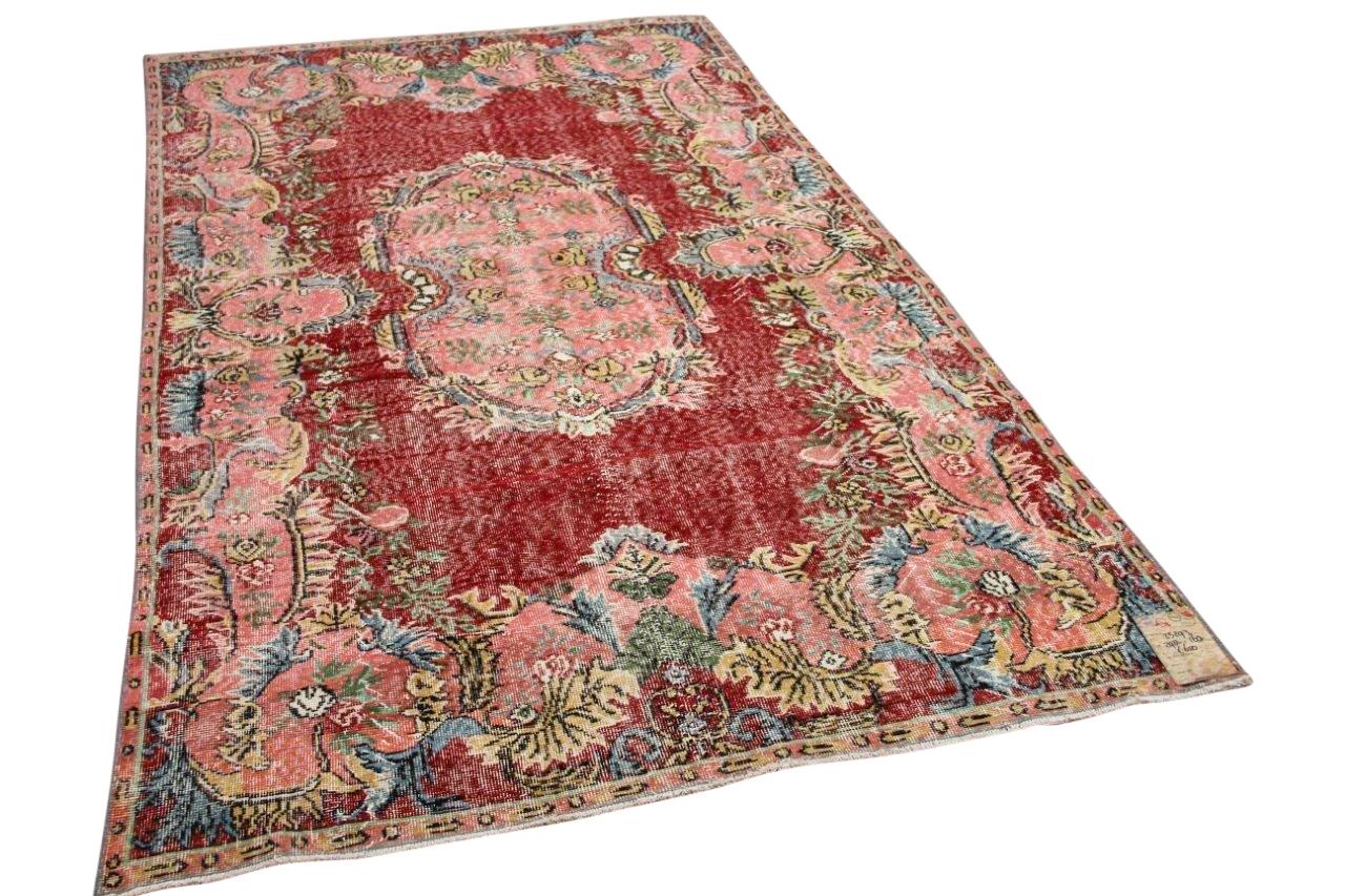 vintage vloerkleed met  rood en roze 23293 298cm x 168cm