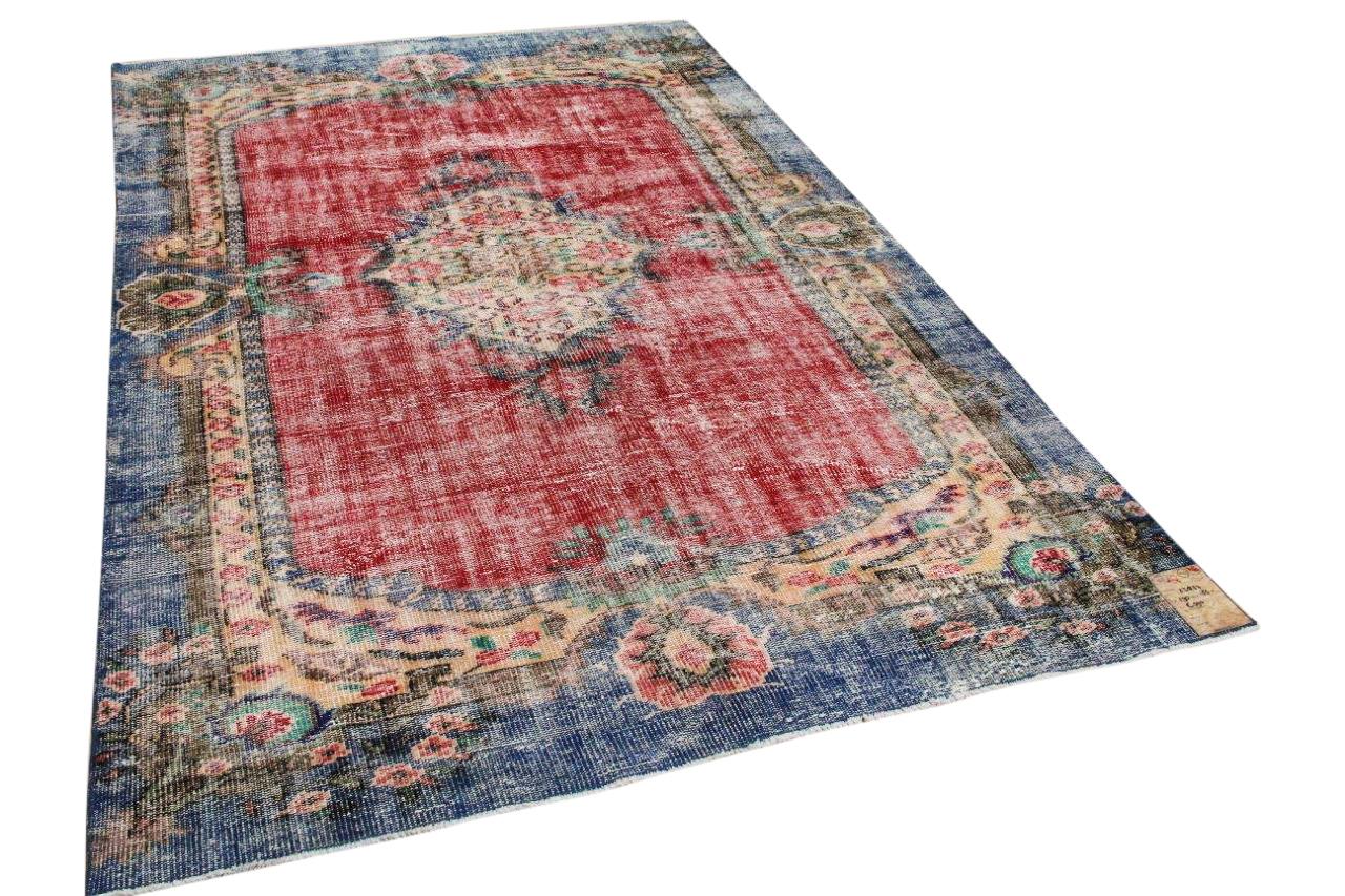 Vintage vloerkleed rood, blauw 25837 290cm x 186cm