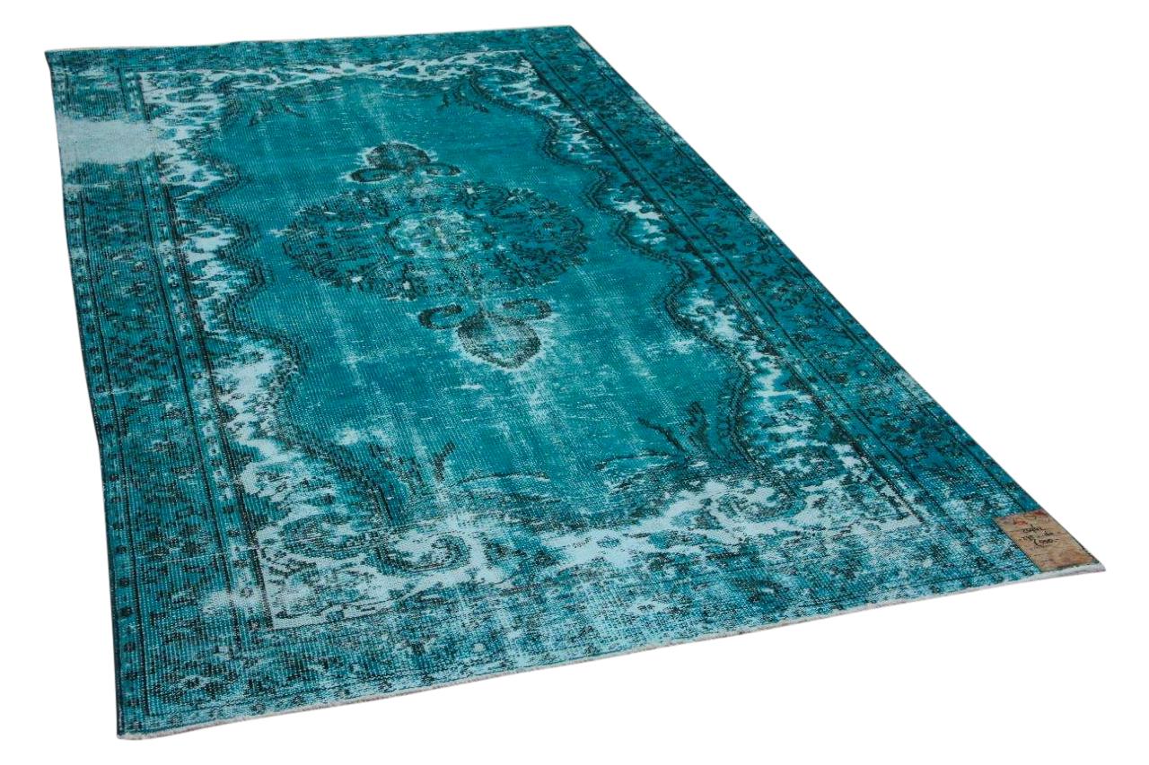 Vintage vloerkleed aqua blauw 23962 275cm x 160cm
