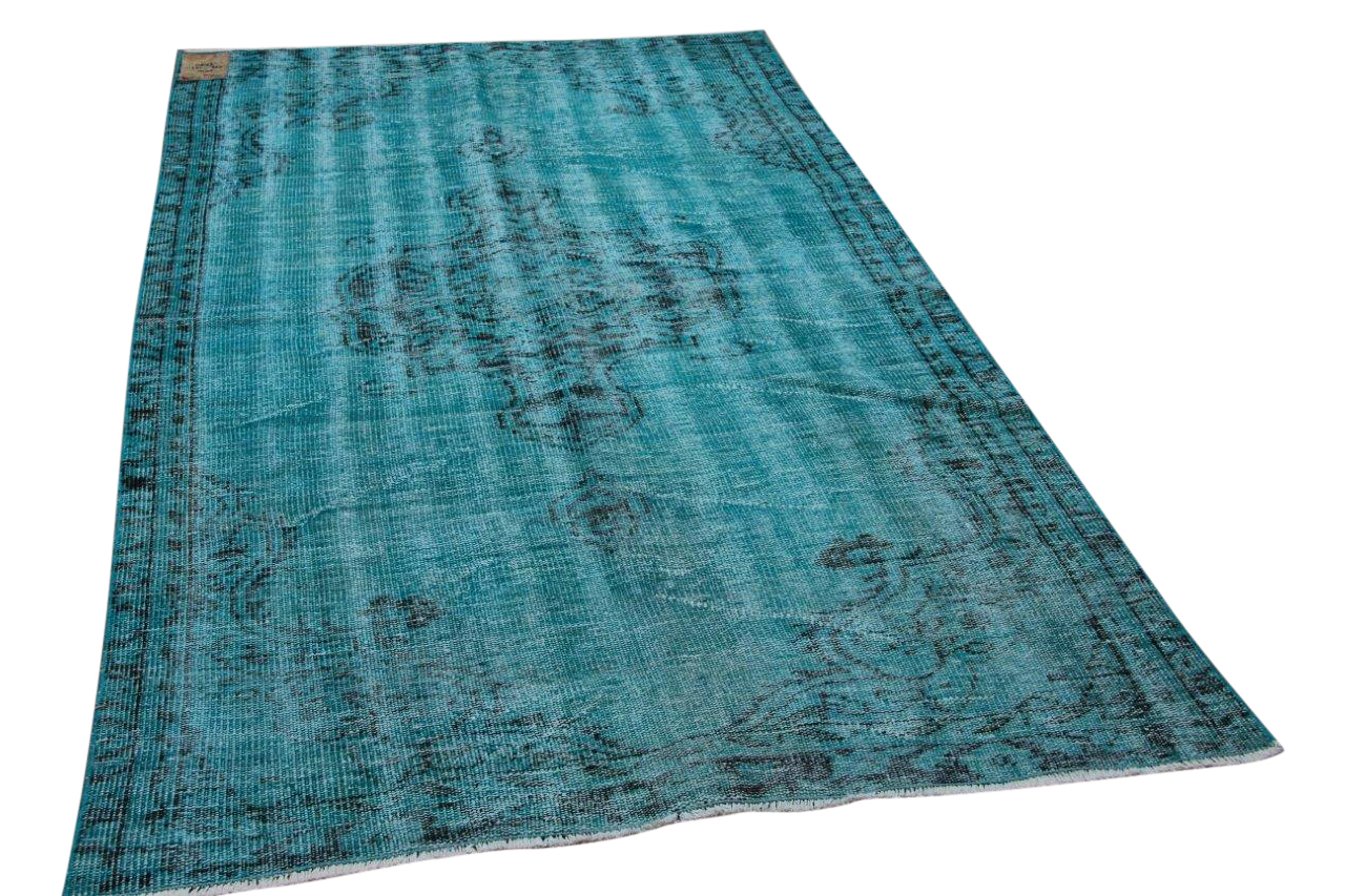 Vintage vloerkleed aqua blauw nr.2514 237cm x 141cm