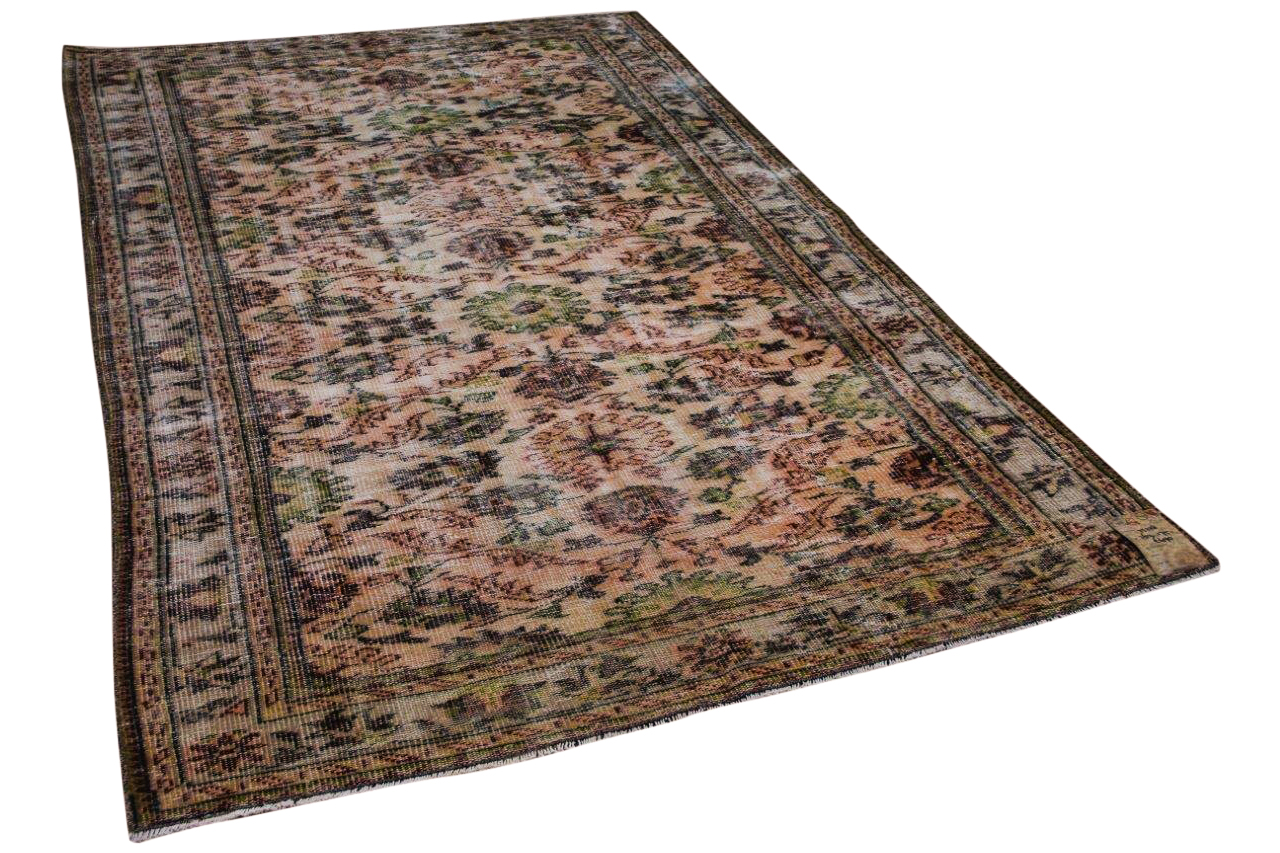 Vintage vloerkleed bruin, oranje, groen 25228 262cm x 175cm
