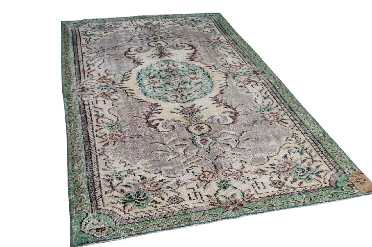 Vintage vloerkleed met groen 25310 274cm x 158cm