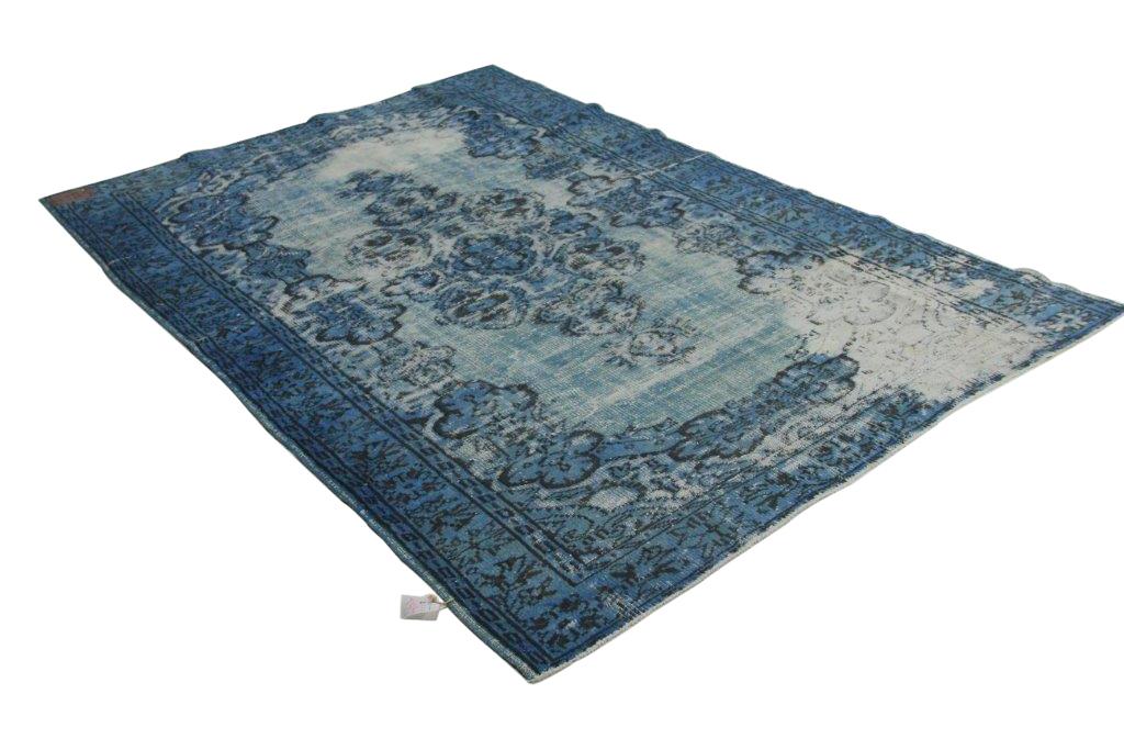 Vintage vloerkleed jeansblauw