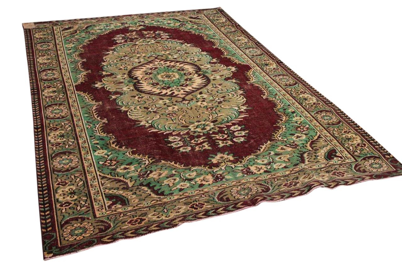 Vintage vloerkleed rood met groen 27023 307cm x 211cm
