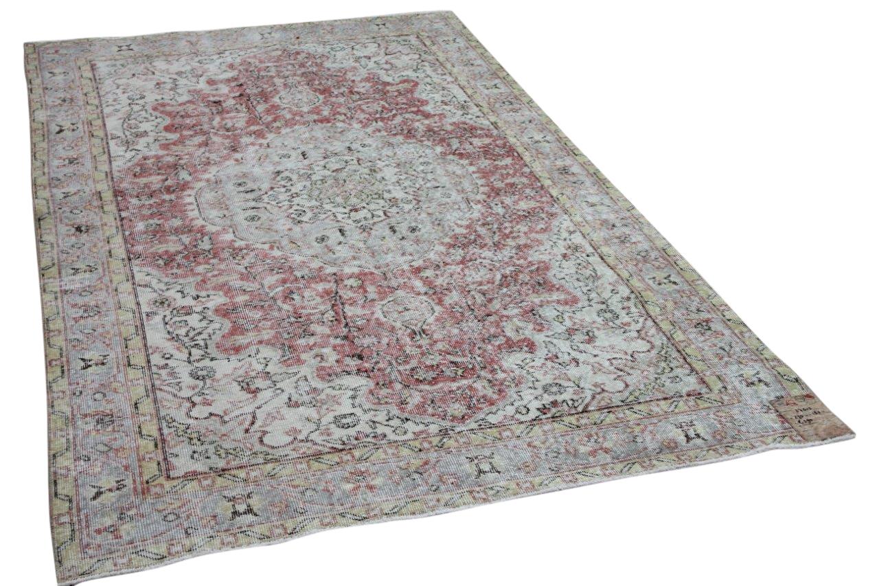 Vintage vloerkleed zandkleur met rood 27515 270cm x 162cm